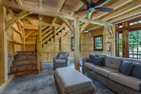 post beam style timber frame pool house northern white pine cement slab floor radiant heat katonah westchester