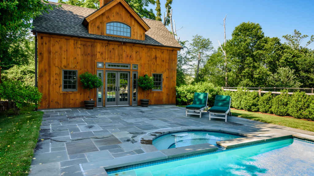 post beam style timber frame pool house northern white pine anderson french doors cupola bluestone patio gunnite pool spa copper top sikkens certol katonah westchester