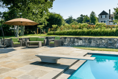 entertainment patio gunnite pool spa bluestone fieldstone landscaping katonah westchester