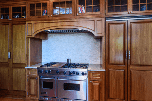 kitchen renovation cherry cabinets ambient recess lighting viking commercial stove stainless steel venting tile backsplash katonah westchester